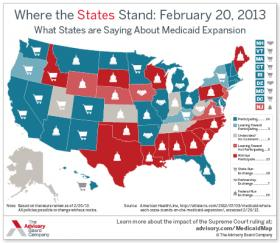 Map of adoption of Medicaid expansion under Affordable Health Care Act.