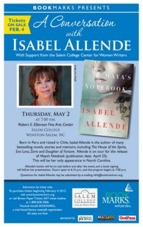 Isabel Allende will visit Winston-Salem May 2nd for the Bookmarks Book Festival.