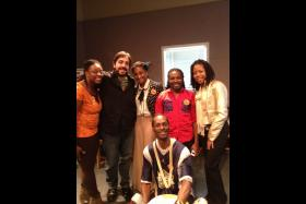 NC A&T E. Gwynn Dancers and Triad Arts' Technical Producer Eddie Garcia.