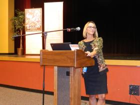 Beverly Emory, Winston-Salem/Forsyth County Schools Superintendent, was the featured speaker during an event sponsored by the Chamber's Tech Council on Wednesday at Atkins High School.