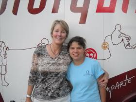 Mary Law (l) with her daughter, Cristina.