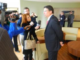 WFDD's Keri Brown talked with N.C. Gov. Pat McCrory during his visit to Wake Forest Baptist Medical Center on Tuesday. McCrory says he is collaborating with education and healthcare leaders throughout the state to develop new strategies and policies for 2014.
