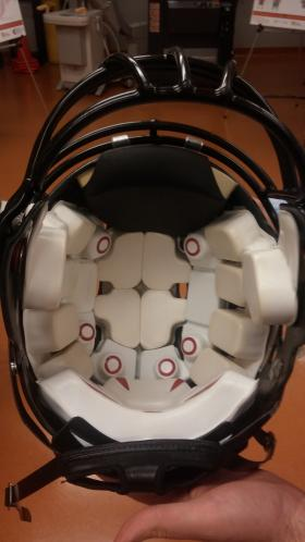 Specialized football helmet fitted with accelerometers.