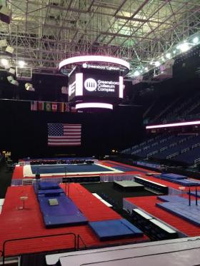 Event organizers say the stage is ready for gymnasts to compete at the Greensboro Coliseum Complex.