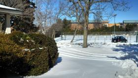 The front yard at WFDD on the Wake Forest University campus, mid-morning on Friday