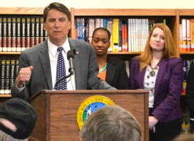 Gov. Pat McCrory speaks during a news conference Monday at Ragsdale High School in Jamestown.