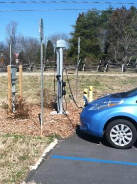 Owners of electric cars can charge up their battery in Winston-Salem. This station is on Main Street below Old Salem and near the entrance to the Greenway.