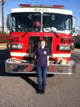 Amanda Whalen is a Firefighter Explorer in Winston-Salem. She plans to become a firefighter after graduating college.