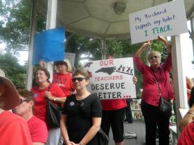 Many N.C. teachers say they want more support from lawmakers in Raleigh. Several of them attended a rally on Aug. 14, 2013 in Winston-Salem to voice their concerns.