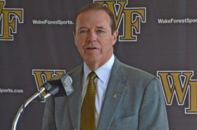 Ron Wellman speaks Thursday during a press conference announcing the resignation of Wake Forest Basketball Coach Jeff Bzdelik.