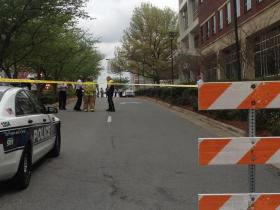 Emergency crews have blocked off First Street between Church Street and Chestnut because of the chemical explosion at a lab in Wake Forest Innovation Quarter.