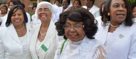 Members of Alpha Kappa Alpha sorority wait to get in line for the memorial service for Dr. Maya Angelou Saturday, May 7, 2014.