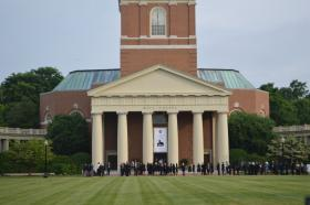 Guests wait in line to get into Wait Chapel for Maya Angelou's memorial service Saturday, June 7, 2014.