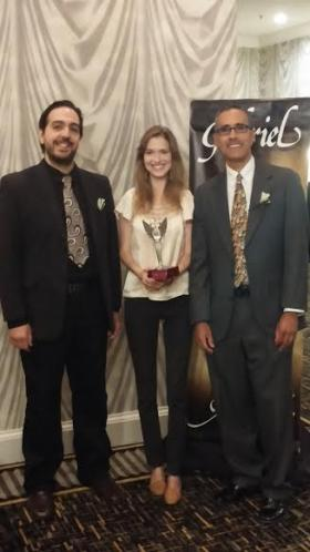 WFDD's Triad Arts team was honored for its local arts coverage at the 2014 Gabriel Awards ceremony held in Charlotte on Thursday. Eddie Garcia (left), Bethany Chafin (center) and David Ford (right) accepted the award for their winning entry.