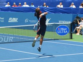 An overhead smash by Lukas Rosol at the WS Open