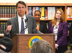 Gov. Pat McCrory discusses teacher pay during a press conference in Jamestown in February.