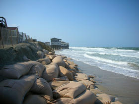 Beach erosion at the Outer Banks of North Carolina.