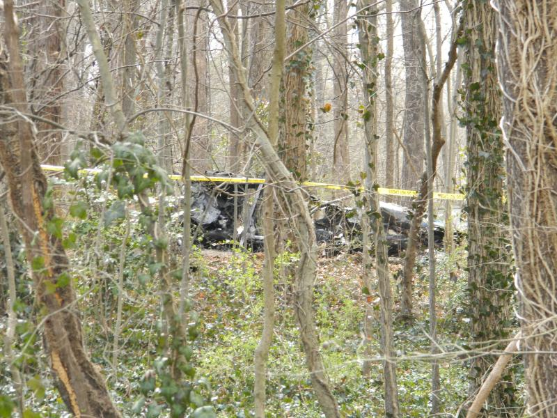 A small, fixed-wing plan crashed into the woods behind homes on Kearns Avenue and Graylyn International Conference Center on Easter Sunday afternoon. Dr. Dennis A. O'Neal, Debbie Dee O'Neal and their dog were on board and all died in the accident.