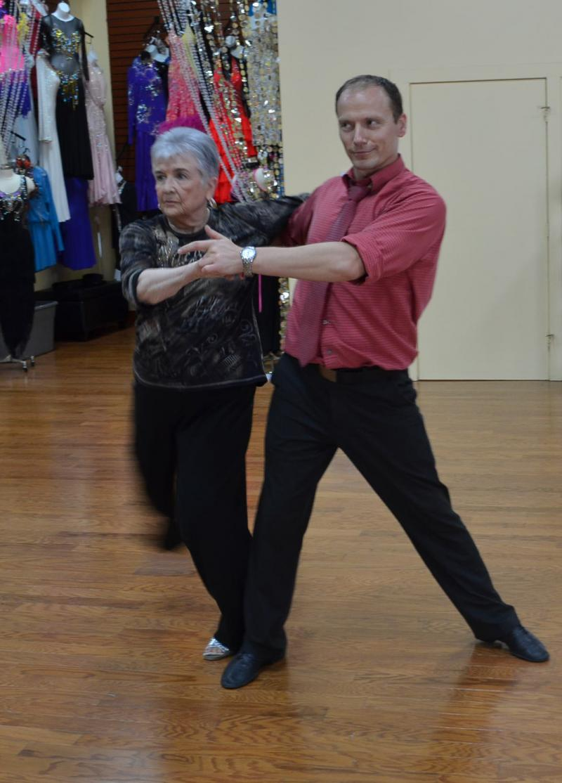 Ellenor Eubanks Shepherd (left) is an internationally competitive ballroom dancer. She trains at the Fred Astaire Dance Studio on Mill Street in Greensboro. Her coach/partner is Sasha Tsyhankov.