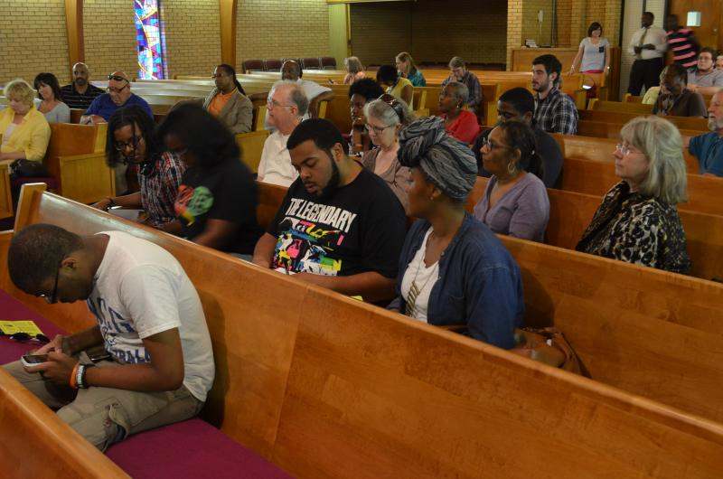 May 30, about 40 people met in New Light Baptist Church in Greensboro. Most filled out protest information cards so they can participate in Moral Monday on June 3 in Raleigh.