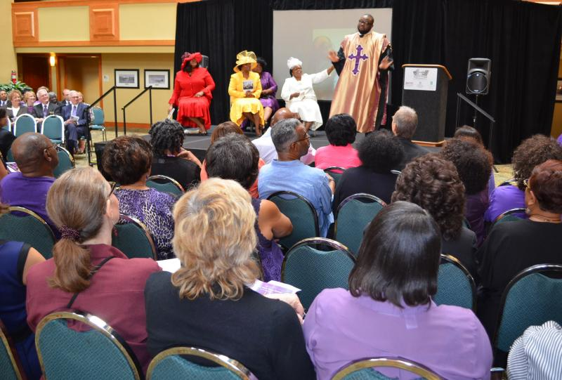 Performers from the NBTF show, Crowns, entertain during the NBTF press conference, Monday, June 3.  It is one of more than 100 performances coming to Winston-Salem July 29-August 3.