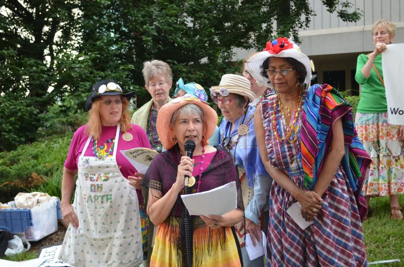 The Raging Grannies from the Triangle sang rally songs urging state utilities commissioners to reject a rate hike.