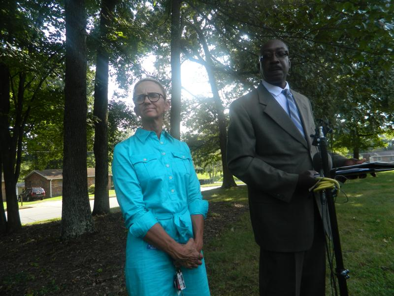 Beverly Emory, Superintendent of Winston-Salem/Forsyth County Schools and Wwinston-Salem Police Chief Barry Rountree update the media around 4:30 p.m. Friday, nearly two hours after the school shooting.