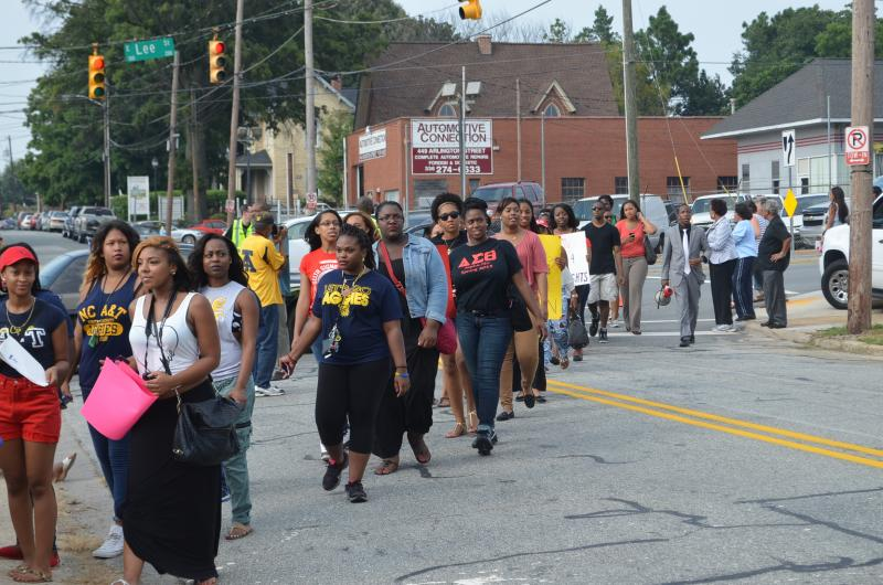 Nearly 250 North Carolina A&T State University students marched from campus to the rally at South Elm and East Lee Streets. They say they are the new generation of Civil Rights fighters.
