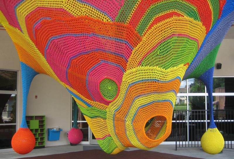 The Children's Museum of Winston-Salem's new Kaleidoscape.  Children can enjoy and climb this innovative piece by artist Toshiko Horiuchi MacAdam.