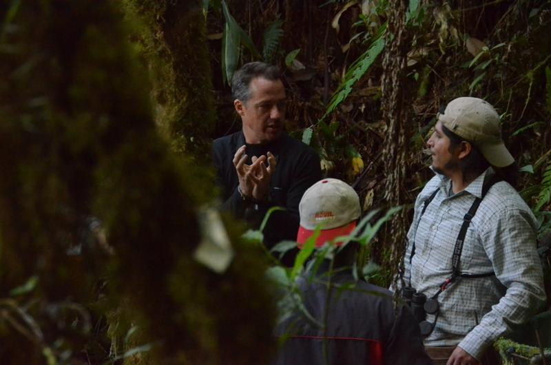 "Silman and Farfan Rios discuss the progress of a tree in plot 8.  One scientist called the plots ""the equivalent of physics' particle accelerator"" – an extraordinary scientific resource open to all in the tropical biology community."