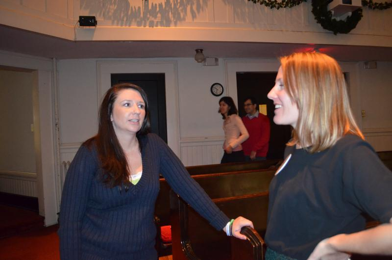 Brinda Sousley talks with Sarah Green. Sousley is the Triad Ambassador for Moms Demand Action For Gun Sense in America and Green also works with the group. They coordinated Saturday's event at Green Street Church.