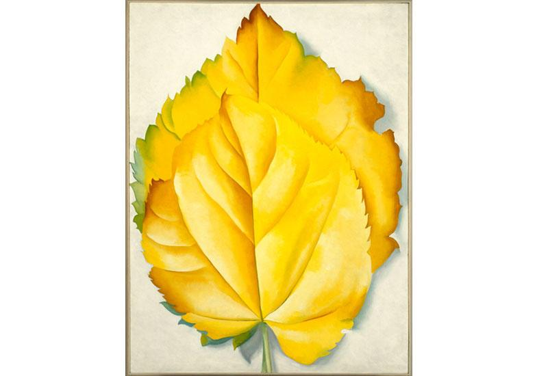 Georgia O'Keeffe (American, 1887-1986). 2 Yellow Leaves (Yellow Leaves), 1928. Oil on canvas, 40 x 30 1/8 in. (101.6 x 76.5 cm). Brooklyn Museum, Bequest of Georgia O'Keeffe, 87.136.6.