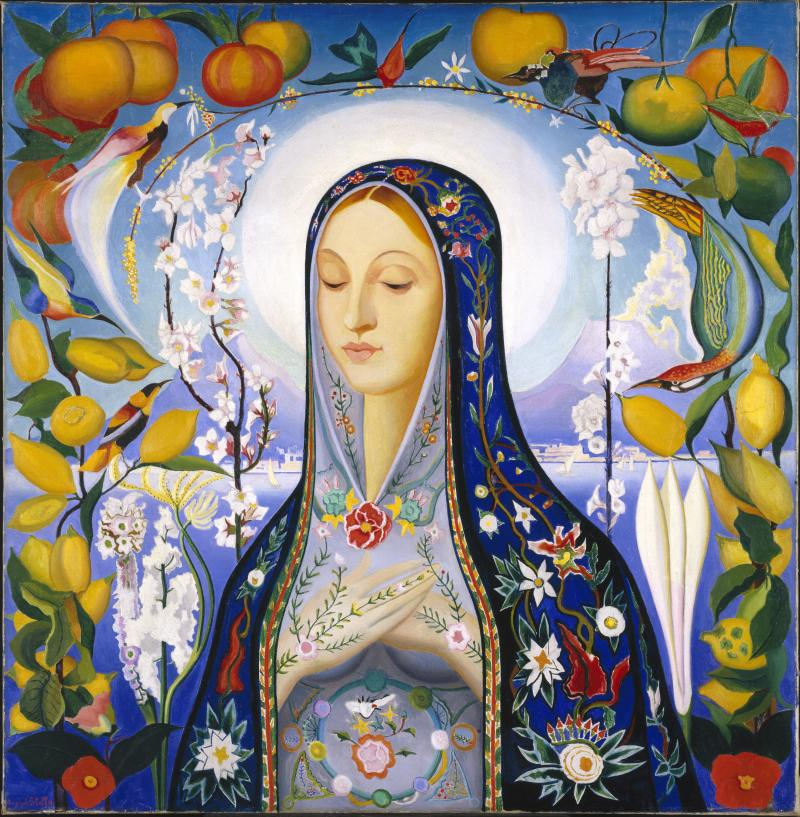 Joseph Stella (American, born Italy, 1877-1946). The Virgin, 1926. Oil on canvas, 39 11/16 x 38 3/4 in. (100.8 x 98.4 cm). Brooklyn Museum, Gift of Adolph Lewisohn, 28.207.