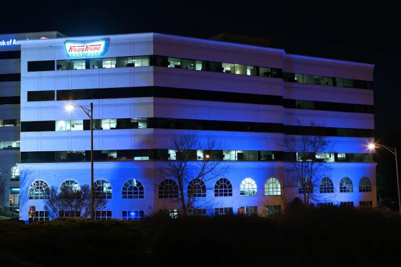 Krispy Kreme headquarters will illuminate with blue light through the month of April to commemorate Autism Awareness Month.
