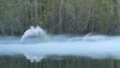 Sleepy Hollow location shoot in Pender County. A fog machine is set in Black River on property owned by Tom Keith.