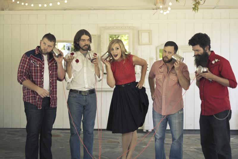 Nora Jane Struthers & The Party Line: (left to right) Drew Lawhorn, Joe Overton, Nora Jane Struthers, P.J. George, Aaron Jonah Lewis
