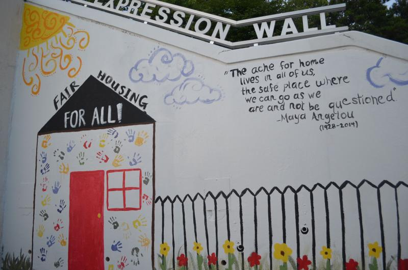 This is the Expression Wall of the WS Youth Advisory Council. Members painted the mural June 6, 2014.