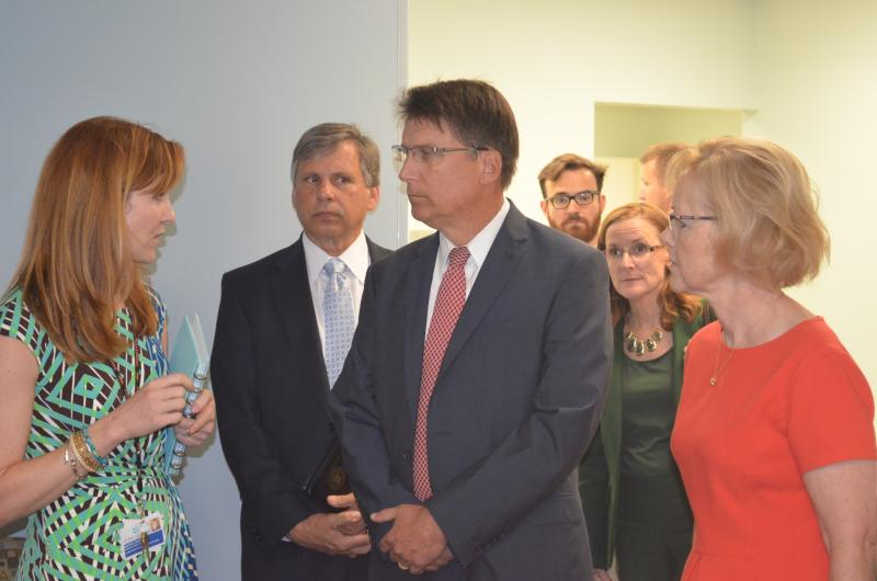 Dr. Martha Perry (l) leads Governor Pat McCory (c) and DHHS Sec. Aldona Wos (r) on a tour of the Cone Health Center for Children. Dr. Perry specializes in adolescent medicine and is the medical director.