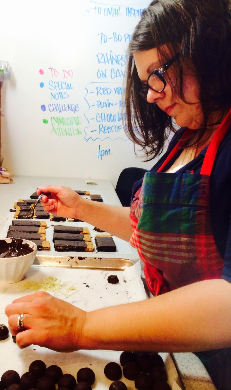 Jiliana Dulaney behind the scenes at Haute Chocolate (housed in Twin City Hive).