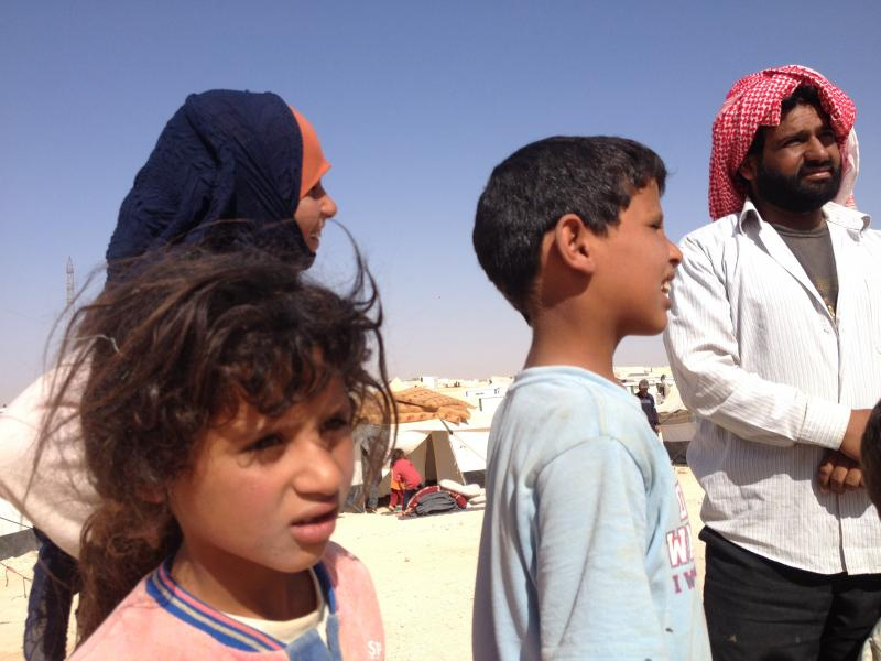 New Syrian refugees arrive at Zaatari refugee camp in Jordan.