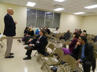 Winston-Salem residents are briefed on the police chief search during a public meeting Tuesday.