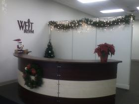 Holiday decorations adorn the lobby of the state of the art WFIT studios.