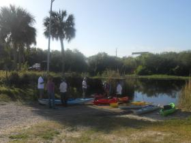 Participants gather at Lake Washington for the St. Johns River paddle.