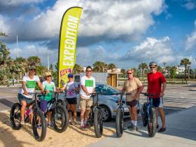 Fat-tire beach ride group at Canova Park.
