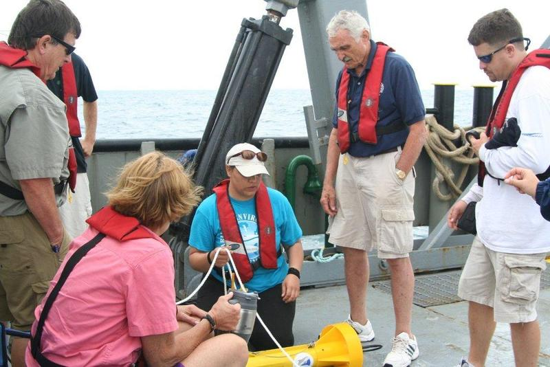 Dr. Maul, students and SISA members prepare for deployment of the sonar scanner.