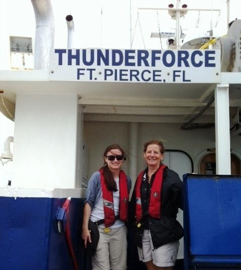 WFIT's Michelle Walker & Terri Wright aboard Thunderforce.