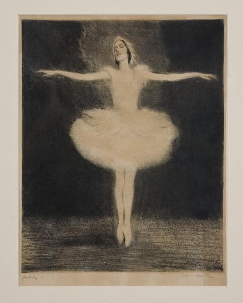 Art: Ernst Oppler (German, 1867 – 1929), Pavlova, The Dying Swan, c.1912. Drypoint etching, 11.75 x 9.5 inches. Collection of Foosaner Art Museum, Florida Institute of Technology. Gift of Susan Oppler Wood, 86.3.316.