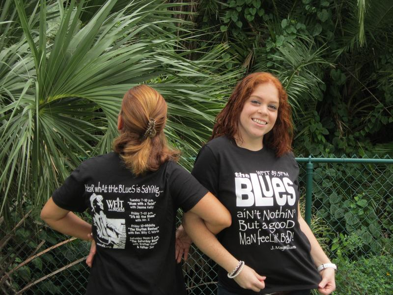 The lovely Pam and Heleni in WFIT's Blues T's.