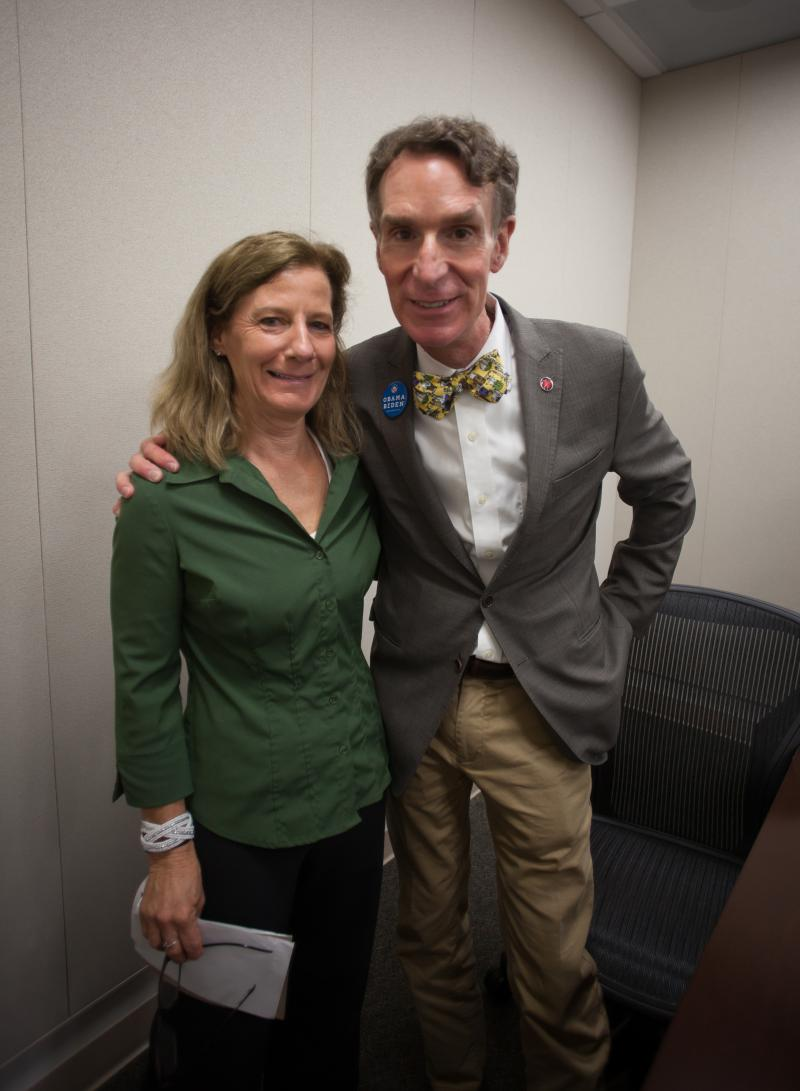 WFIT General Manager, Terri Wright with Bill Nye
