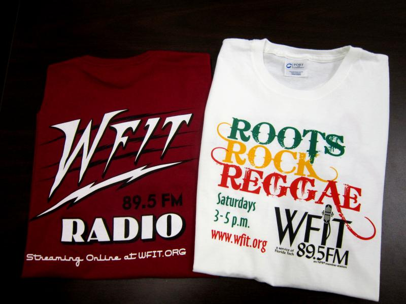 Snazzy up your wardrobe with these rockin' WFIT t-shirts! Pick between several for a donation of $60 or more!
